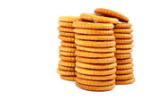 Stack of cracker biscuits on a white background. — Foto Stock