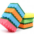 Zdjęcie stockowe: Stack of cleaning sponges on white background.