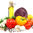 Стоковое фото: Fresh vegetables on white background.