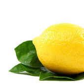 Fresh lemon with green leaves, isolated on a white background. — Stock Photo