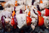 Shish kebab on the grill with smoke. — Stock Photo