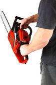 Man with gasoline chain saw in hand. — Stock Photo