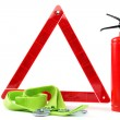 Car kit. Fire extinguisher, emergency sign and tow rope. — Stock Photo #51575323