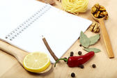 Notebook for recipes, vegetables and spices. — Φωτογραφία Αρχείου