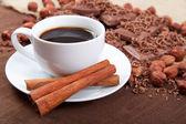 Xícara de café com paus de canela em um pires, chocolate e ha — Fotografia Stock