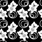 White teddy bear seamless pattern — Stok Vektör