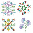 Stock Vector: Set of floral patterns