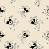 Pirate skull seamless pattern — Stock Vector