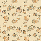 Fruit Doodle seamless Pattern — Stock Vector