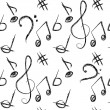 Musical doodles seamless pattern — Stock Vector