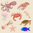 Royalty-Free Stock Imagen vectorial: Set of sea animals