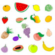 Stock Vector: Set of fruits