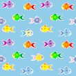 Fish   stickers  seamless pattern — Stock Vector