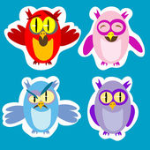 Owl Stickers — Stock Vector