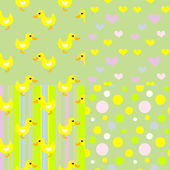 Set of seamless baby duck patterns — Stock Vector