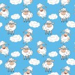 Funny sheep seamless pattern — Stock Vector
