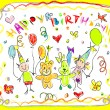 Stock Vector: Birthday Party Doodles Card