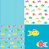 Set of Fish sticker seamless pattern — Stock Vector