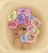 Kobieta portret z różami — Zdjęcie stockowe