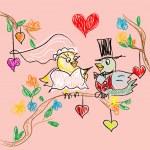 Birds Wedding Doodles Card — Stock Vector