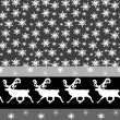 Christmas   seamless border with snowflakes and deer — Stock vektor
