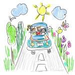 Happy family trip doodle — Stock Vector