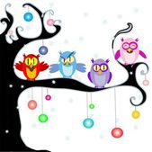Christmas Owls — Stock Vector