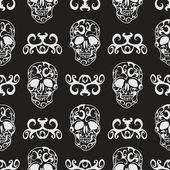 Skull floral seamless pattern — Stockvector