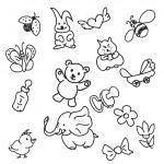 Set of Kid's Staff Doodles — Stock Vector