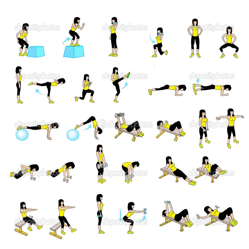 Fitness-Übungen-Satz — Stockfoto #39957855