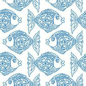 Monochrome fish Seamless Pattern — Stock Vector
