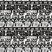 Tribal schwarzweiss nahtloser vektor-muster — Stockvektor