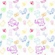 Kid's Staff Doodles seamless pattern — Stock Vector