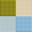 Houndstooth Seamless Patterns Set — Stock Vector
