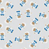 Navy teddy bear  seamless pattern — Stock Vector