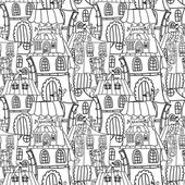 Houses monochrome seamless pattern — Stock Vector