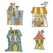 Set of Houses doodles — Stock Vector