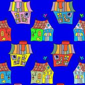 Houses doodles seamless pattern — Stock Vector