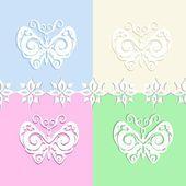 Set of Paper Butterflies — Stock Vector