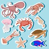 Sea Animals Stickers Set — Stock Vector