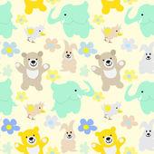 Baby Animals Seamless Background — Stock Photo