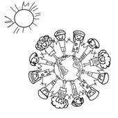 Erde Kinder doodle — Stockfoto