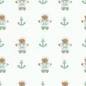 Navy anchor teddy  bear  seamless pattern — Stock Photo