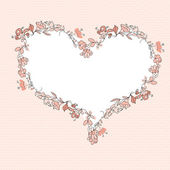 Floral heart frame — Vector de stock