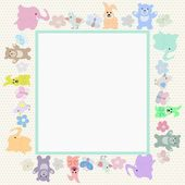 Baby animals greeting card — Stock Vector