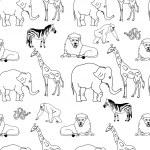 Animals Line Art Seamless Pattern — Stock Photo