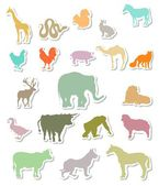 Set of colorful animals silhouettes stickers — Stock Vector