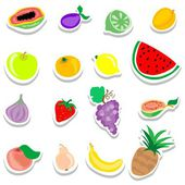 Set of flat fruits stickers icons — Stock Vector