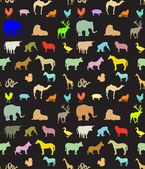 Seamless pattern of  colorful animals silhouettes — Stok Vektör