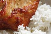 Kip met rijst (selectieve aandacht) — Stockfoto
